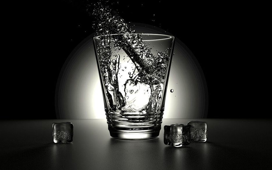Pure water in clear glass